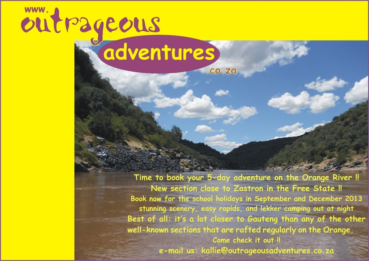 Come rafting with us!  http://www.outrageousadventures.co.za/orangeriver.html