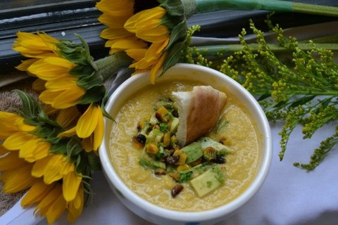 Corn-Miso Soup with Roasted Corn Guacamole