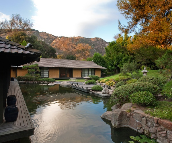 A view of the Koi Pond at Golden Door Spa