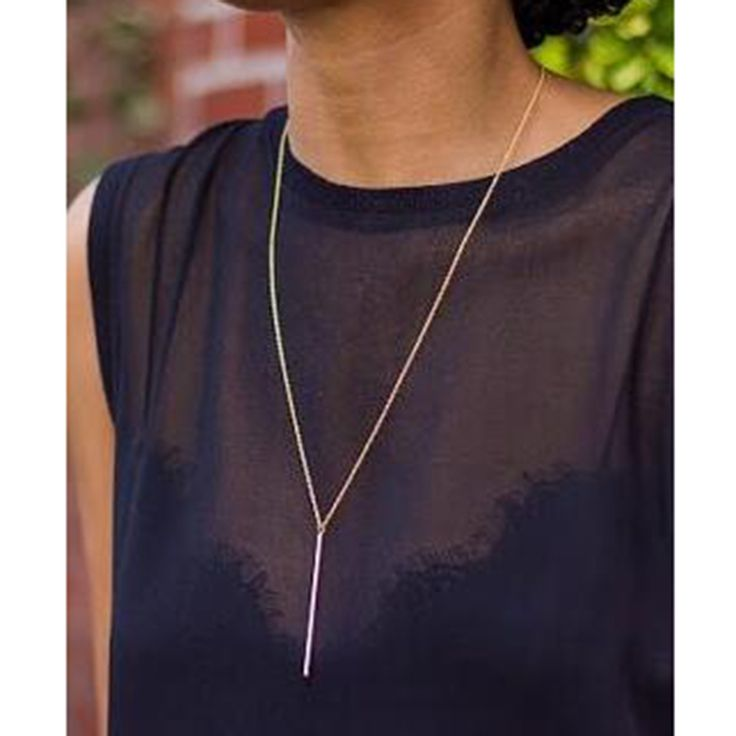 Yanqueens Fashion Stick Pendant Necklace Silver Gold Color Girl Long Chain Necklaces Jewelry for women  Free shipping-in Chain Necklaces from Jewelry & Accessories on Aliexpress.com | Alibaba Group