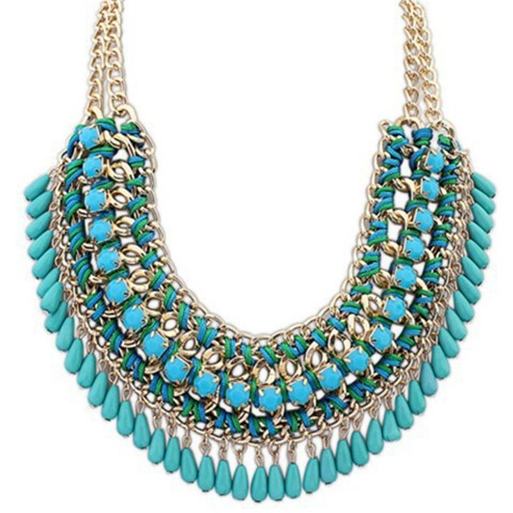 Collar Statement Necklace Women European and American Statement Necklace Women Trendy Jewelry European American wholesale choker vintage jewelry bead Necklaces & Pendants fashion colar 2015 New Hot sale Brand Design western style multi-layer Weave
