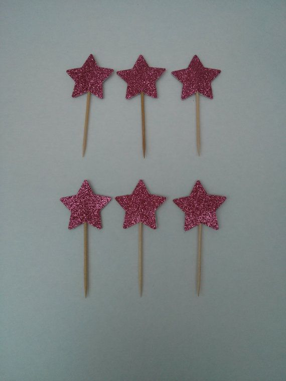 glitter star cupcake toppers black blue gold pink by mintforever
