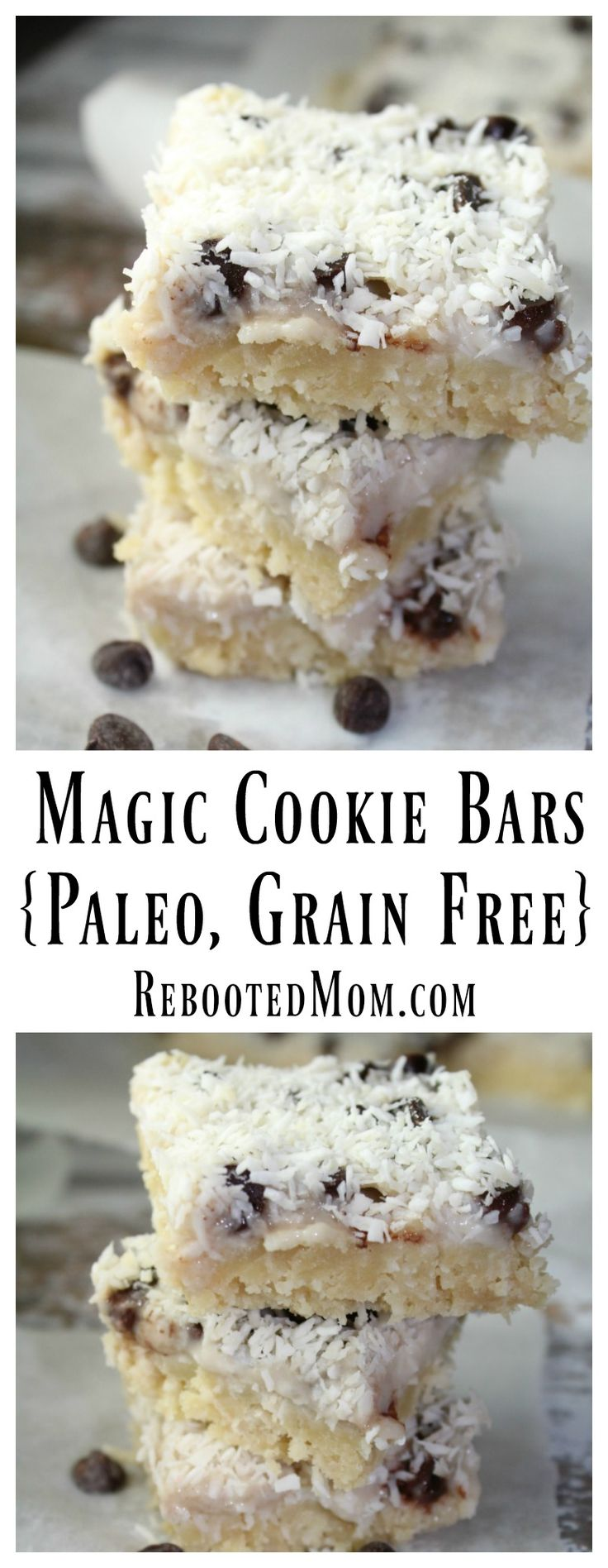 A paleo version of the magic cookie bars, that combines an almond flour crust with a coconut filling laced with chocolate chips and coconut to create a delicious and rich cookie bar that's Paleo and grain-free.