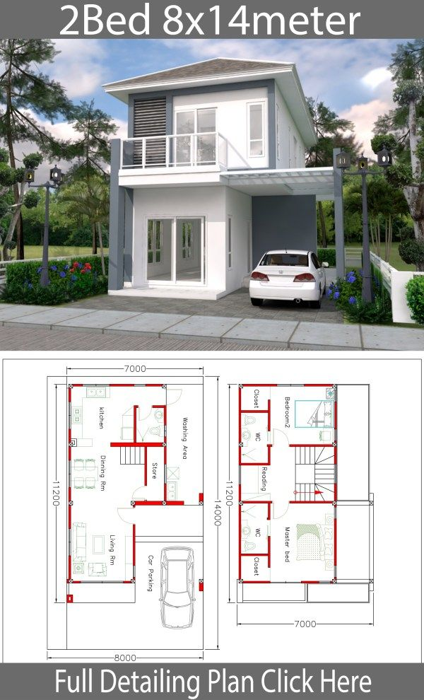 House Design Plan 8x14m With 2 Bedrooms Samphoas Plan Home Design Plans Home Building Design House Design