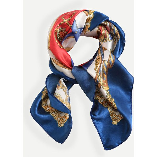 Multicolor Print Silk Square Scarf (9.12 AUD) ❤ liked on Polyvore featuring accessories, scarves, multicolor, multi colored scarves, patterned scarves, colorful scarves, square silk scarves and silk scarves