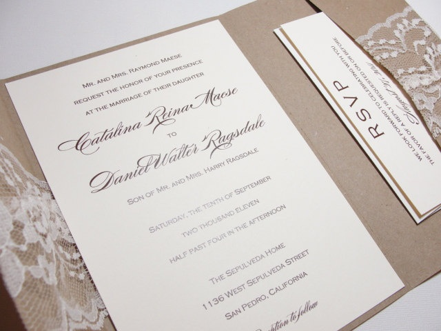 GRACIE Rustic Lace Wrapped Wedding Invitation.