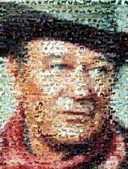 John wayne horse montage mosaic art print signed coa and for Mosaic painting meaning