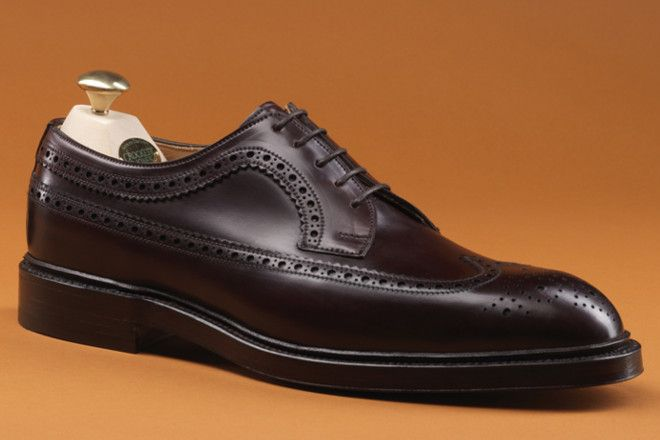 Crockett and Jones Cheviot II, perfectly proportioned Long Wing Brogue. In Burgundy Shell Cordovan