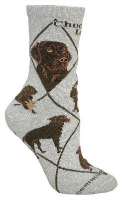 Chocolate Lab Grey Socks