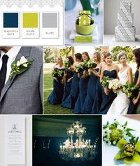 Navy blue bridesmaids. This time the blue is being paired with olive green, but I think fall colors will look fabulous with navy blue!