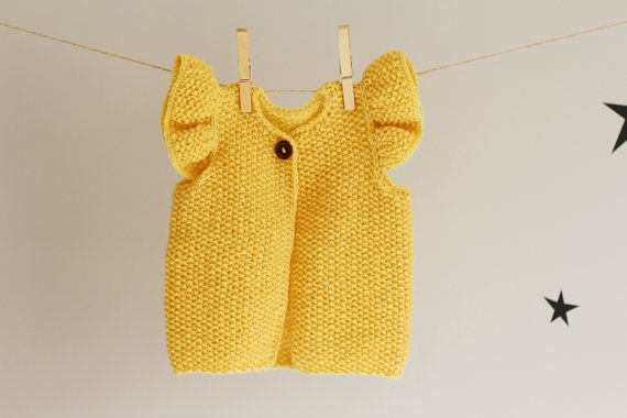 Knit Baby Girl Vest Baby Girl Yellow Waistcoat with by LalaKa