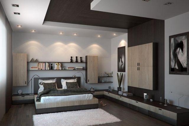 Faux plafond moderne dans la chambre à coucher et le salon  LED ...