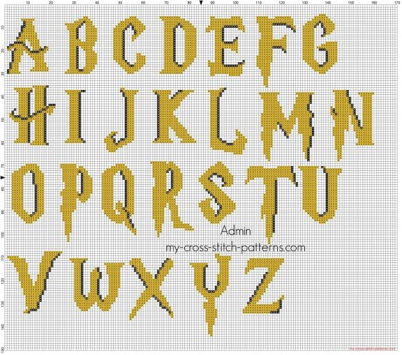 Colored Harry Potter font cross stitch alphabet free download