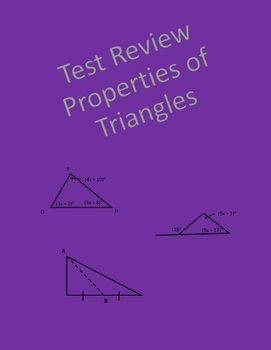 Geometry test review covering classifying triangles by sides and angles, exterior angles of triangles, perpendicular bisectors, angle bisectors, altitudes, and medians.