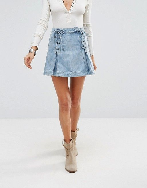 Free People | Джинсовая юбка со шнуровкой FreePeople