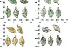 20pcs Czech Patina Antique Silver Tone Nature Leaf Charms Pendants Bohemian Two-Sided Metal Findings 7mm x 14mm