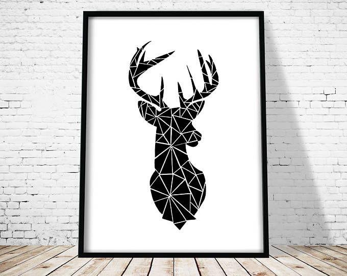 Geometrische herten afdrukken, bos dieren, Scandinavische Print, herten hoofd afdrukken met geometrische Print, kunst aan de muur, herten Print, herten Poster, Gift