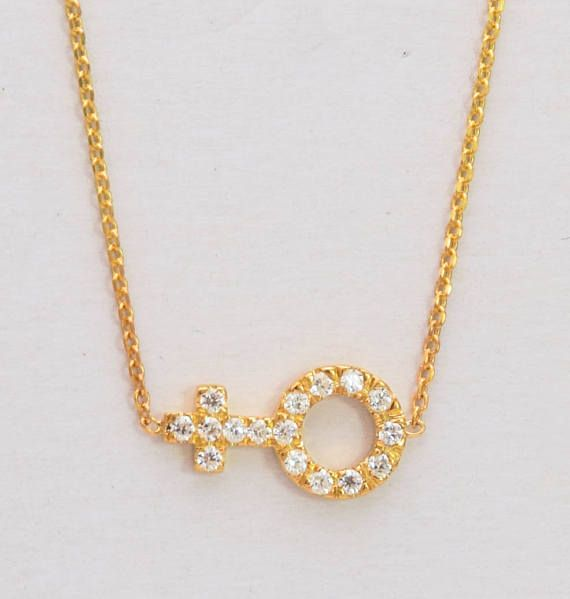 Gold Venus Sign 18k Female Necklace NATURAL DIAMONDS Venus. Solid Gold. Available in Yellow Gold, White Gold or Rose gold. Danelian Jewelry.