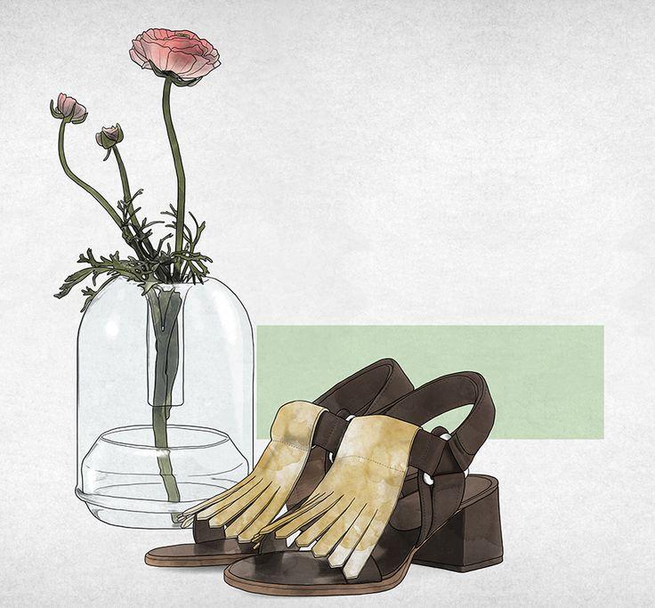 #fortunatodisco #newdivision #illustration #digital #pencil #line #textured #flower #shoes