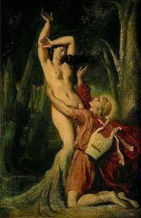 테오도르 샤세리오의 아폴로와 다프네는 아폴로의 구애가 너무 싫은 나머지 나무로 변해버리고 있는 다프네의 모습을 보여준다. 다프네는 나무로 변하는 찰나까지 아폴로의 손길을 거절하고 있다. 들어올린 팔과 아폴포의 반대쪽으로 기울어진 몸의 각도에서 다프네가 아폴로를 얼마나 싫어하는지 잘 드러난다