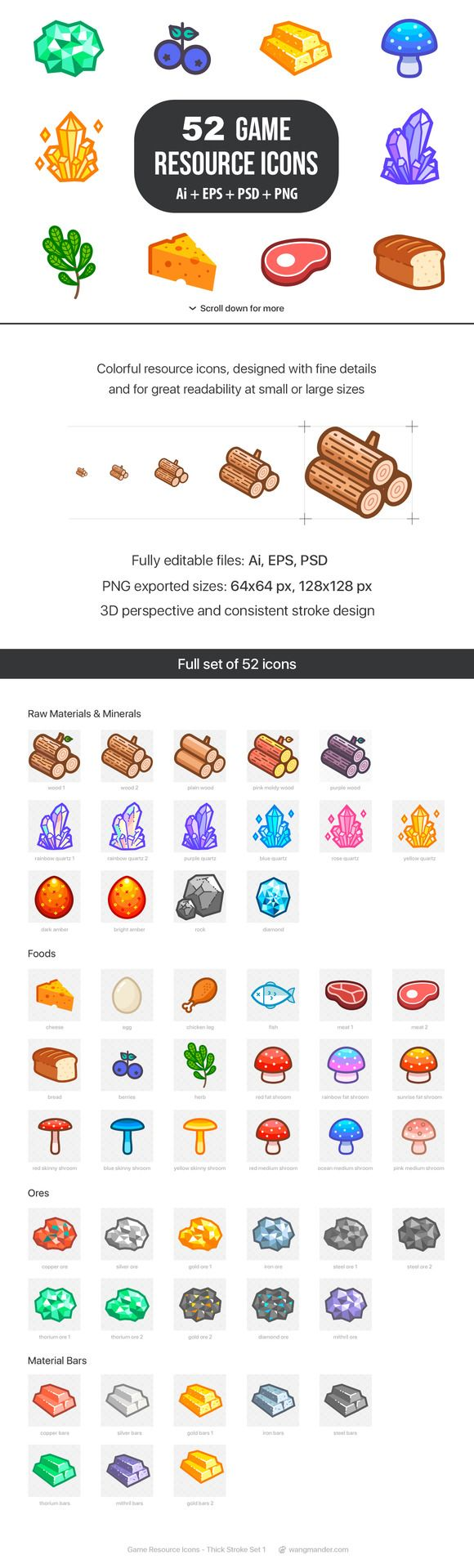 Game Resource Icons by wangmander on @creativemarket