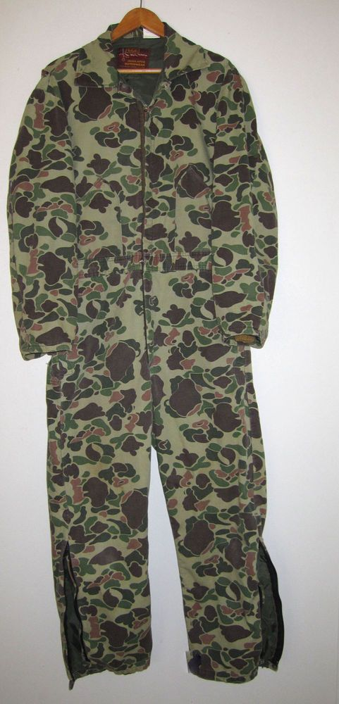 Vintage Walls Camo Camouflage Camo Jumpsuit Work Hunting Coveralls