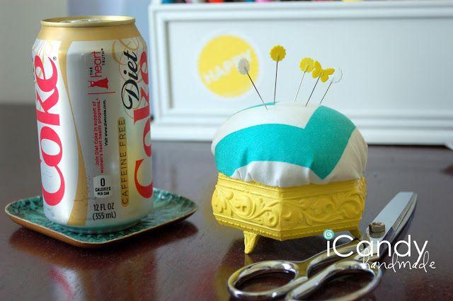 DIY Trinket Box Pin Cushion Tutorial! So cute!  Could use the trinket boxes at Hobby Lobby.