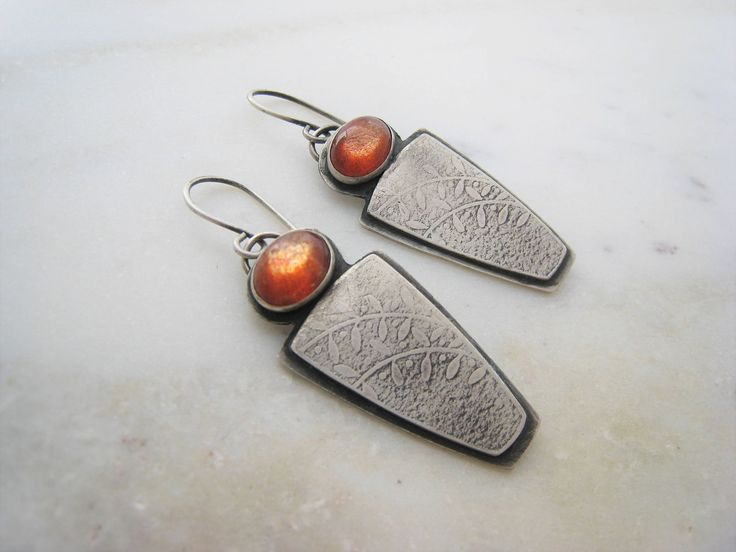Sterling Silver Sunstone Dangle Earrings, Silver Orange Gem Earrings, Textured Earrings, Oxidised Silver Earrings, Handmade Earrings by ZaZing on Etsy
