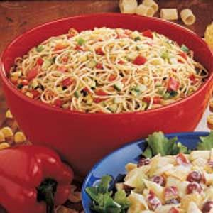 Summer Spaghetti Salad ~ This recipe yields a big bowl for potlucks or picnics.  The attractive, fresh-tasting salad can conveniently be made the night before!