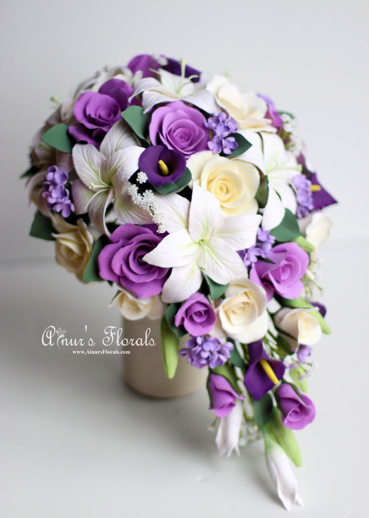 Purple Cascading Bouquet With Calla Lilies Lillies Roses And Lilacs Lapis Bridal Wedding