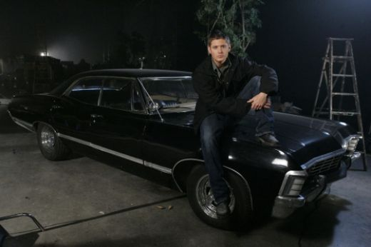 A great car with a delicious hood ornament. 1967 Chevy Impala and Dean Winchester.