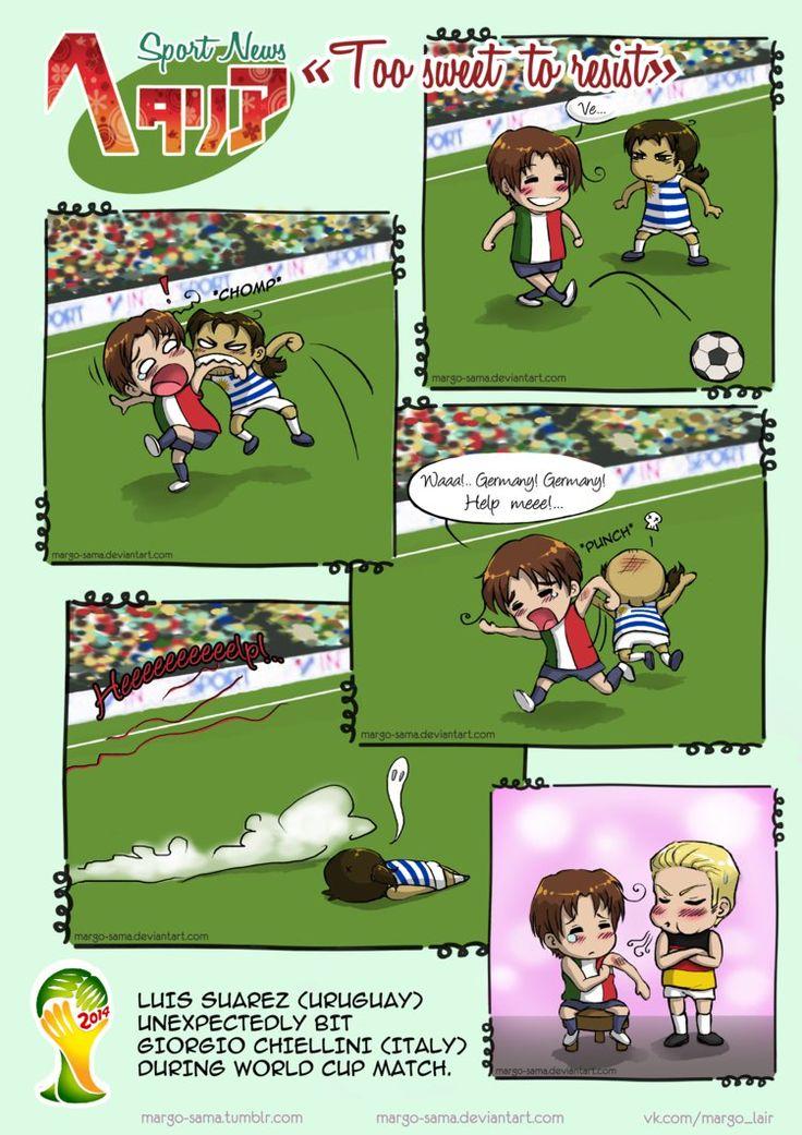 [APH: Sport News] [FIFA-2014] Too sweet to resist  Margo-sama.deviantart.com #hetalia #aph #italy #germany #uruguay #aphitaly #aphgermany #comic #felicianovargas #vargas #margosama