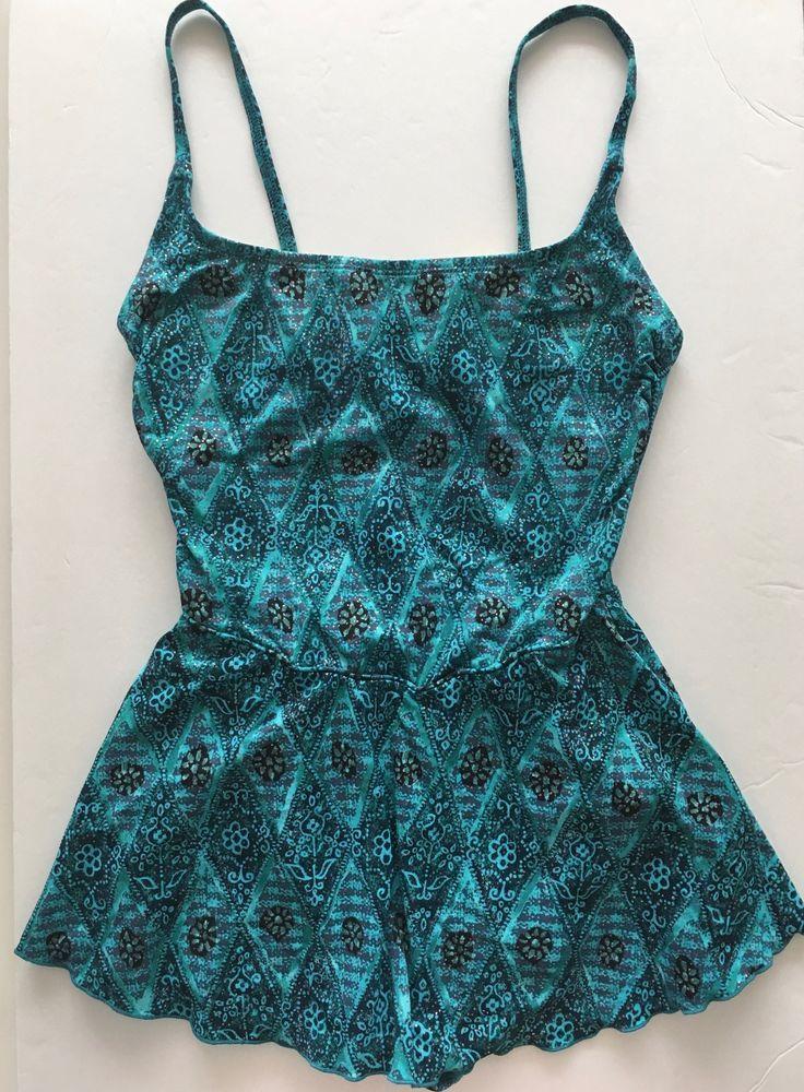 Vintage Oscar de la Renta 1 Piece Metallic Swimsuit Maillot Skirted Blue Aqua 8 #OscardelaRenta #OnePiece