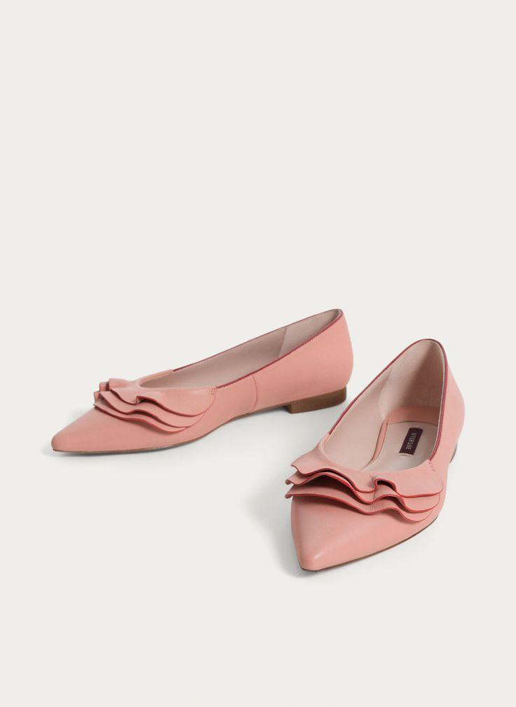 Pink leather ballerinas - Flat shoes - Footwear - Uterqüe Denmark
