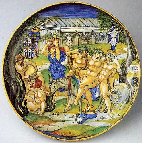 Nicola di Grabriele Sbraghe da Urbano (ca. 1480-1537/38) Service of Isabella d'Este (1474-1539), Bowl with the legend of  the triumph of Silenus Italy, Urbino, ca. 1524-1525 Majolica a istoriato, painted in polychrome, D. 27,5 cm New-York, Metropolitan Museum of Art, 1975.1.1020