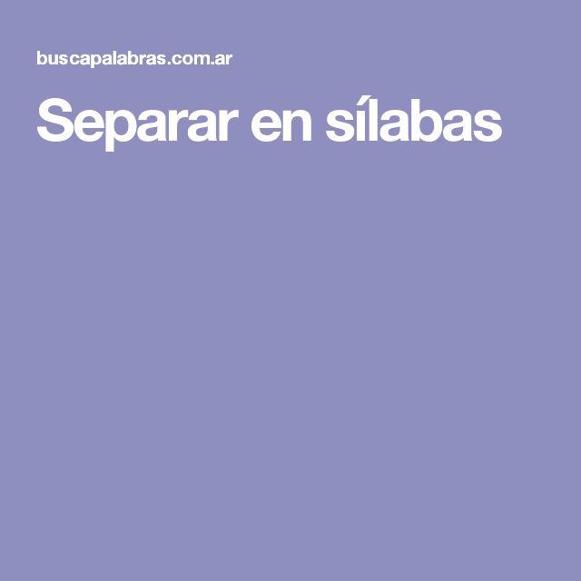 Separar en sílabas