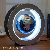Novelty Round Magnetic Levitation Floating Globe World Map with LED Light & Electro Magnet and Magnetic Field Sensor