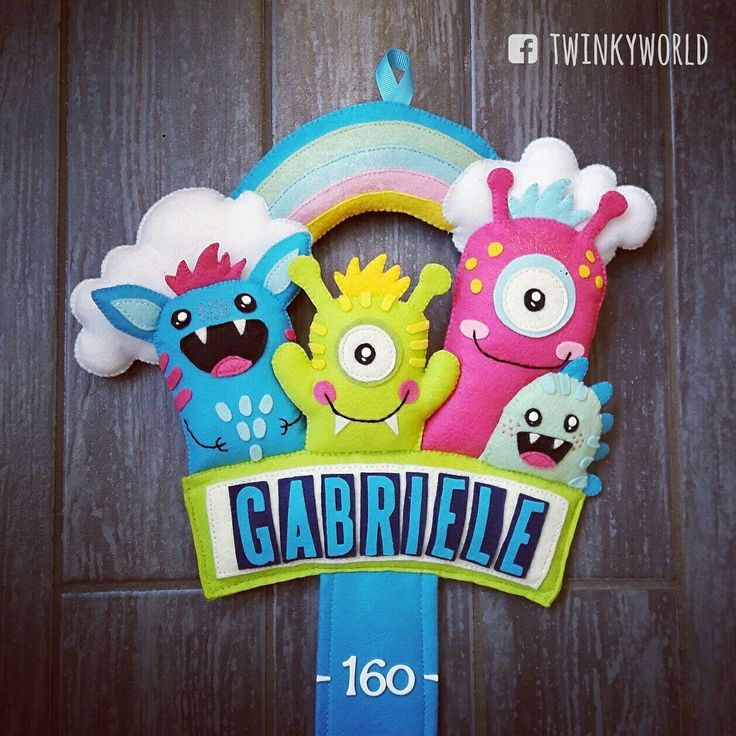 Felt meter - Baby Name - Gabriele with monster - name banner
