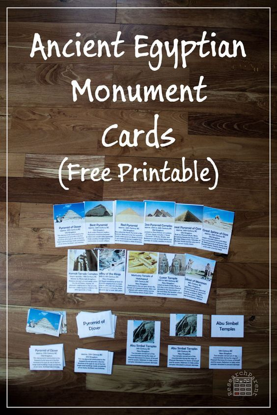 Ancient Egyptian Monument Cards - Free printable cards for helping kids learn about the famous monuments of Ancient Egypt such as the Great Pyramids, Sphinx, and Abu Simbel - ResearchParent.com