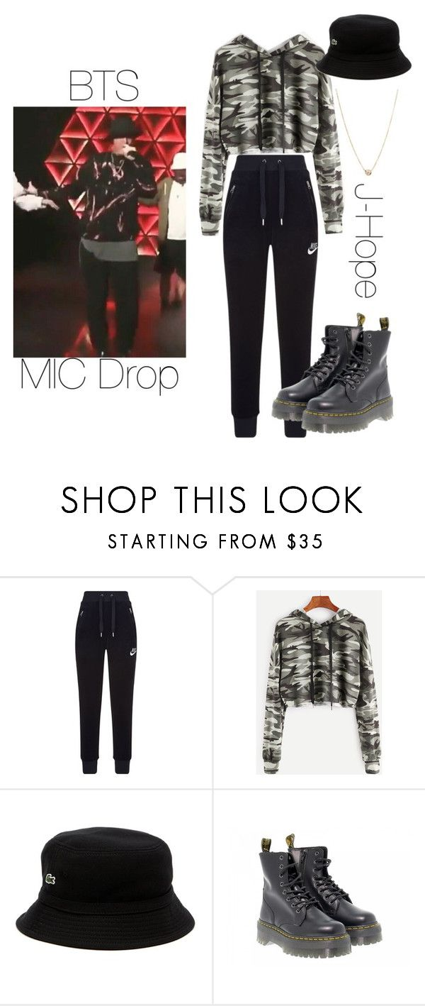 """BTS J-Hope MIC Drop inspired outfit"" by melaniecrybabyz on Polyvore featuring NIKE, Lacoste, Dr. Martens and Zoë Chicco"