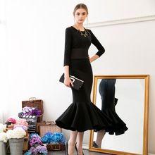 2016 Новый Европейский Мода Зима Весна Женская Простой Черный Длинные Труба Платье Элегантный Тонкий Старинные Вечернее Платье AE 371(China (Mainland))