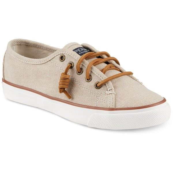 Sperry Women's Seacoast Canvas Sneakers ($60) ❤ liked on Polyvore featuring shoes, sneakers, natural wax canvas, canvas footwear, sperry sneakers, sperry, canvas shoes and plimsoll sneakers