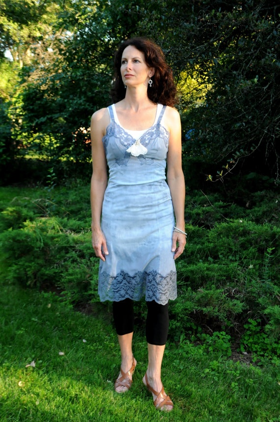 Vintage Altered Slip Tye Dye Blue Slip with by PastNowPresent, $39.00