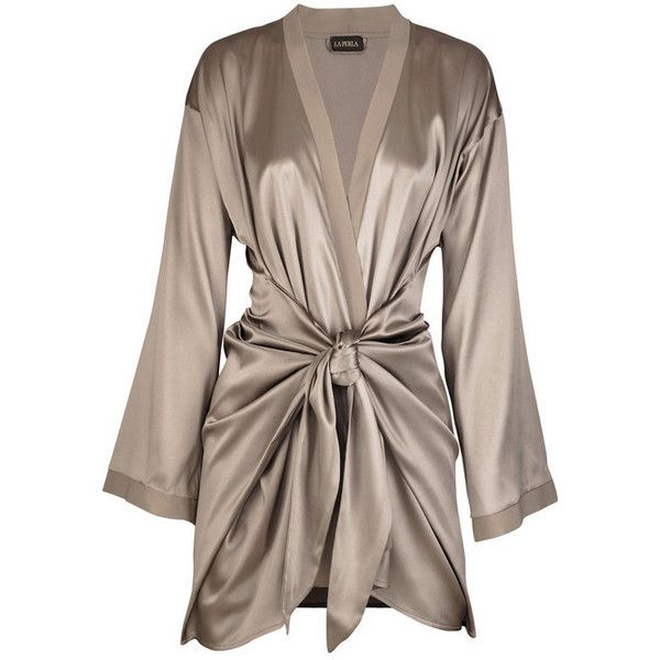 La Perla Satin silk-blend robe (£320) ❤ liked on Polyvore featuring intimates, robes, lingerie, pajamas, dresses, la perla lingerie, bath robes, tie belt, satin bathrobe and satin lingerie