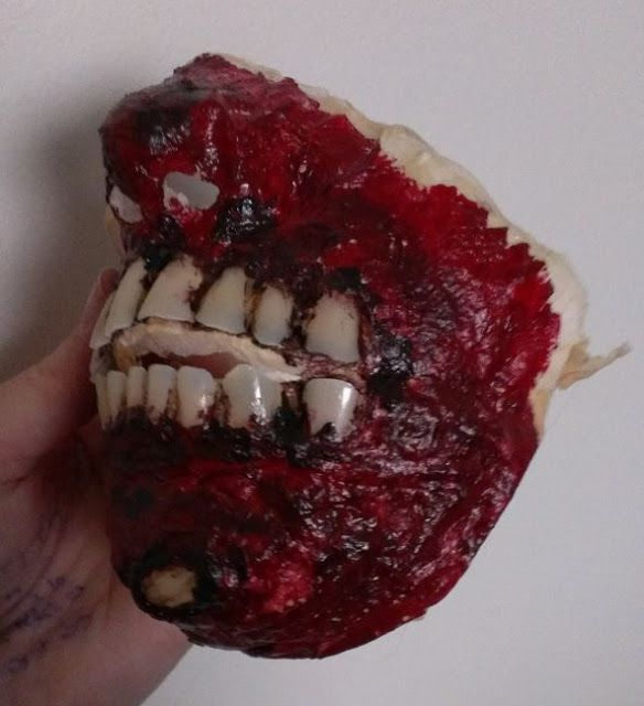DIY Zombie make up, take it of and you have a mask.