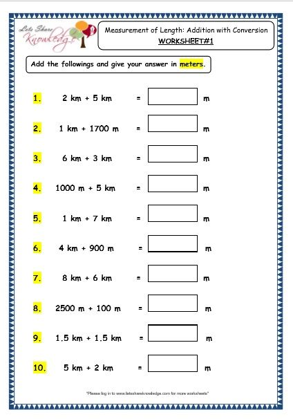 Grade 3 Maths Worksheets 11 Measurement Of Length Addition With Conversion