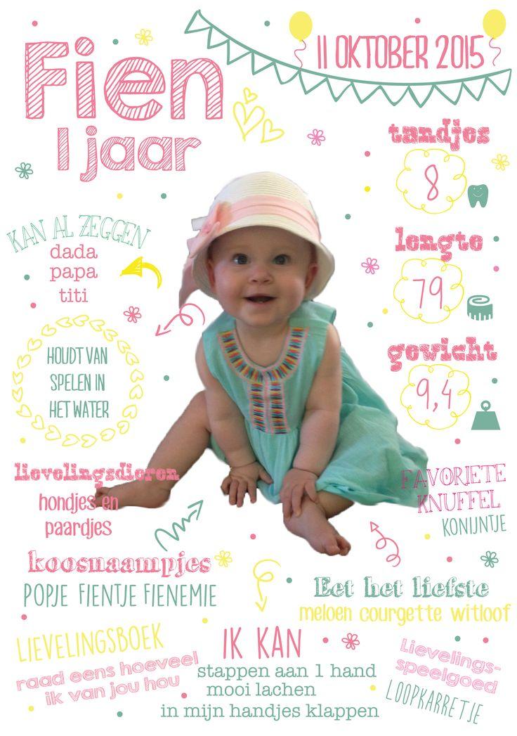 eerste verjaardag 1 jaar foto meisje feest uitnodiging uniek aandenken