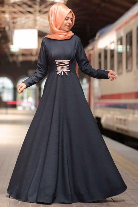 Ayzade Pudra Fiyonklu Kot Tesettür Elbise