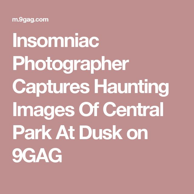Insomniac Photographer Captures Haunting Images Of Central Park At Dusk on 9GAG