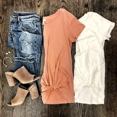 IG @mrscasual <click through to shop this look> pre knotted tees, taupe mule sandals. casual spring outfit